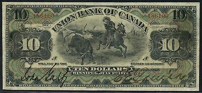 Union Bank Of Canada $10 1912 Vf++ #730-16-08 Winnipeg, Manitoba Rare Wlm4495