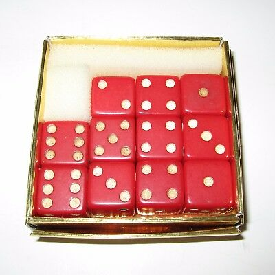 "11 Vintage 9/16"" + Red Bakelite Dice · 1950s"
