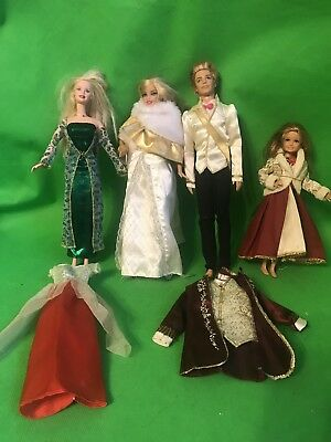 Lot  Princess & Prince Dolls Barbie Ken Holiday Dresses Clothes