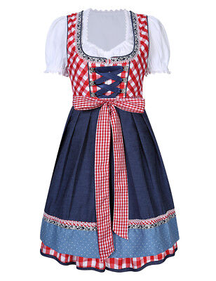 New Women's Cheers Traditional German Dirndl Fraulein Dress Oktoberfest Costume