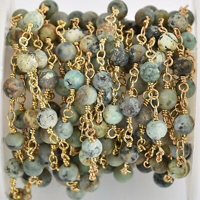 13ft Matte Green AFRICAN TURQUOISE Gemstone Rosary Chain gold 6mm round fch0765b