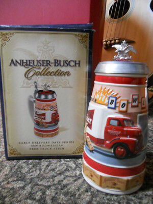 anheuser busch early delivery days series 1956 bud beer truck stein