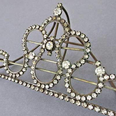 "Antique Prong-Set RHINESTONE 7"" Ornament Brass Wire Frame * Crown or Pediment?"