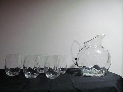 Cambridge Glass Swirl Optic Pitcher and Five Tumblers