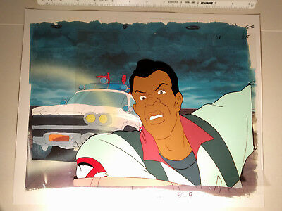 Arsenio Hall Real Ghostbusters Animation TV Movie Cel Winston Zeddemore ECTO-1