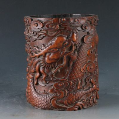 Chinese Bamboo Pole Hand Carved Dragon Brush Pot  DY286