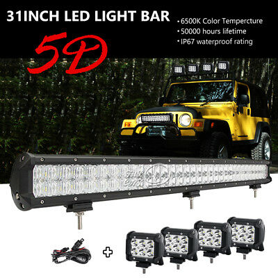 CREE 31INCH 462W+4X 18W LED Light Bar Offroad Spot Flood Fit For Ford Car 4WD 32