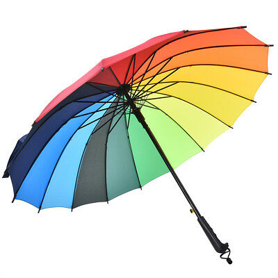 16 Rib Rainbow Golf Umbrella Ultra Deluxe Strong Windproof Large CanopyJ&C