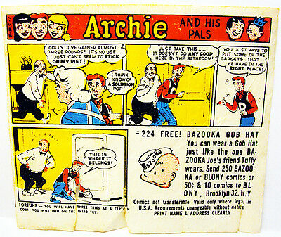 1958 Bazooka Blony Archie Bubble Gum Comic Scarce #2