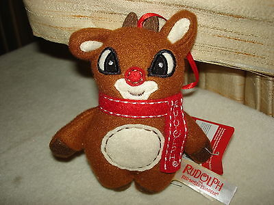 Adorable Rudolph The Red Nosed Reindeer Plush Christmas Ornament: New With Tags