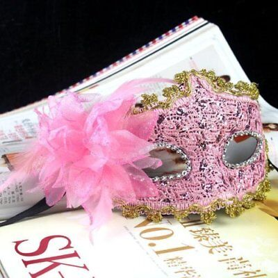 Pink Venetian Leather Mask Bling Lace with Diamond For Masquerade Party