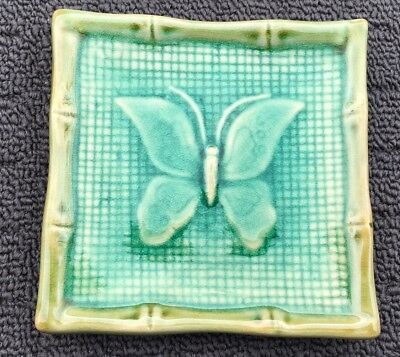 """BAMBOO BUTTERFLY """"Jade Green"""" Glazed Pottery Decorative Display Plate Ornament"""