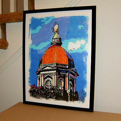 University of Notre Dame Dome, Fighting Irish, Campus, 18x24 POSTER w/COA