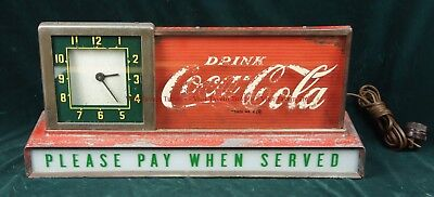 "Unusual Var 1940s Rat Rod Coca Cola Reverse Glass Clock ""Please Pay When Served"""