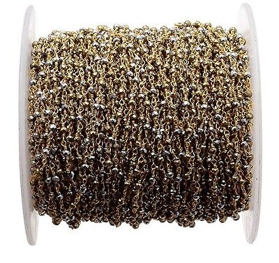 5 Feet Natural Pyrite Beaded Chain Wire Wrapped Rondelle Beads Rosary Style-RC39