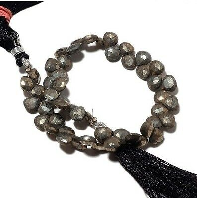 Natural Pyrite Briolette Faceted Heart Briolettes 7mm Beads 9 Inch Strand M81