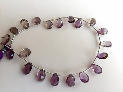 AAA Natural Ametrine Faceted Pear Bead Gemstone Briolletes 9x13mm Each 20 Pieces