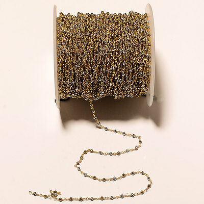 30Feet Natural Pyrite Beaded Chain Wire Wrapped Rondelle Beads Rosary Style-RC39