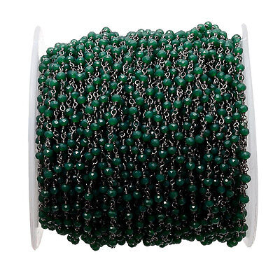 5 Feet Green Jade Emerald Wire Wrapped Rondelle Beads Rosary Style Beaded Chain