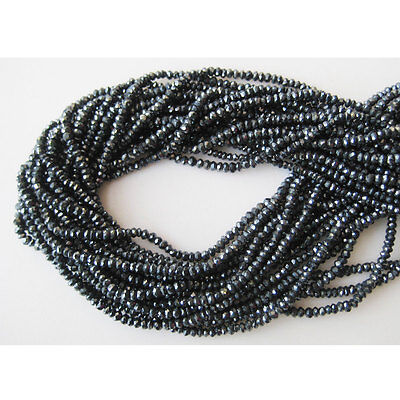 """5 Strands Wholesale Mystic Black Spinel Micro Facetd Rondelle 3mm Beads 14"""" Each"""
