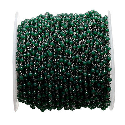 50 Feet Green Jade Emerald Black Wire Wrapped Rondelle Beads Rosary Style Beaded