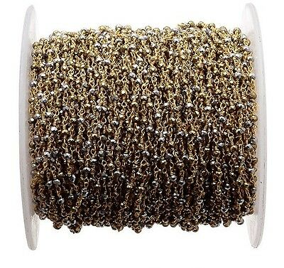 3 Feet Natural Pyrite Beaded Chain Wire Wrapped Rondelle Beads Rosary Style-RC39