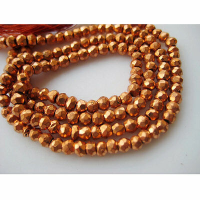 Orange Coated Pyrite Micro Faceted Rondelle Beads 3.5mm Beads 14 Inch Strand