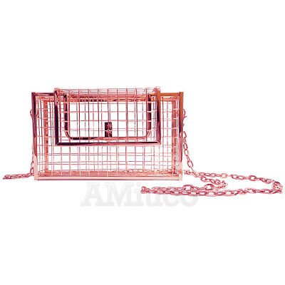 New Hollow Cube Metal Handbag Net Bag Cage Clutch Purse Evening Bag Shoulder Bag