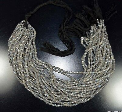 """4 Mm 13"""" 100% Natural A+ 10 Line Silver Coated Labradorite Treated Beads Strand"""