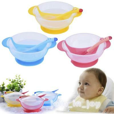 Baby Suction Cup Bowl Slip-resistant Tableware Temperature Sensing Spoon Set JA
