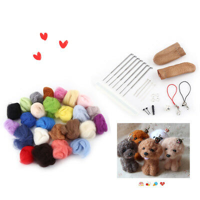 Wool Felt + Needles Felt Tool Set Needle Felting Mat Starter Kit 25 Colors DIY