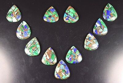 Aaa ! 206.95 Cts. Natural Copper Lapis Malachite Azurite Pear Cabs  For Set