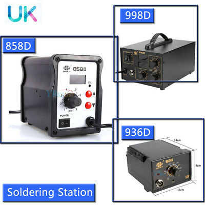 2 in 1 Soldering Iron Station ESD Safe Digital LCD Display 936 / 858D / 998D UK