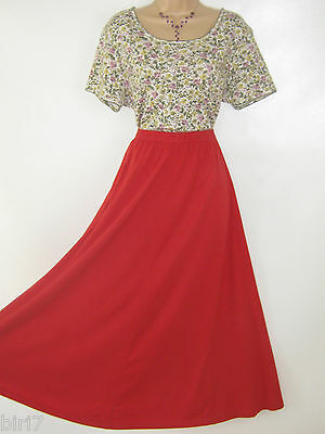 Laura Ashley Vintage Poppy Red Cotton Jersey Skirt & Floral Top, Large