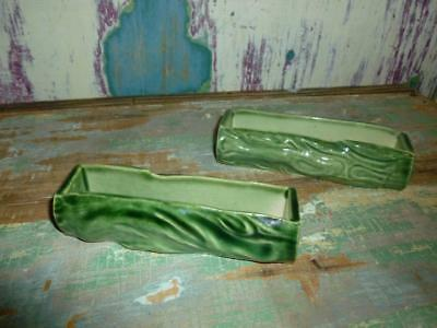 X 2 Vintage WADE England Green Log Shaped Trough Vases