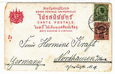Siam Thailand 1901 Postcard To Germany Interesting Text !