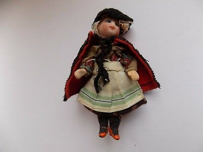 ANTIQUE GERMAN BISQUE HEAD MINIATURE DOLL WELSH COSTUME GLASS EYES 92 mm TALL