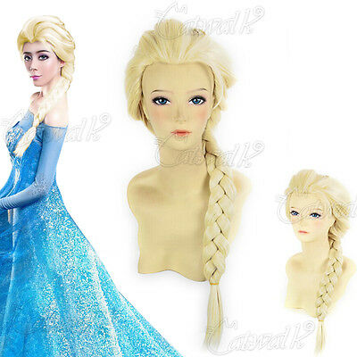 Halloween Adult Princess Long Full Blonde Braids Cosplay Wig Fancy Christmas UK
