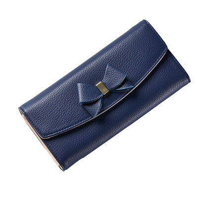 Women Long Wallet Trifold Leather Clutch Purse Locking Buckle Card Holder