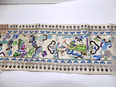 Beautiful Antique Chinese Hand Embroidered Silk & Metal Thread Sleeve Panel