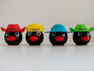 PINGU 4 Plastic Collectable Container Heads / Faces with Hats