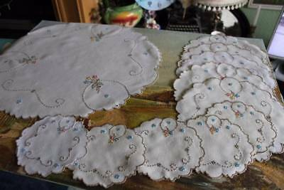 Vintage Linen 11 Piece Table Set Madeira Hand Embroidered Pastel Flowers