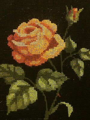 """Vintage VERY  OLD  Small Tapestry Canvas    """"Rose""""    by Royal Paris Design 6005"""