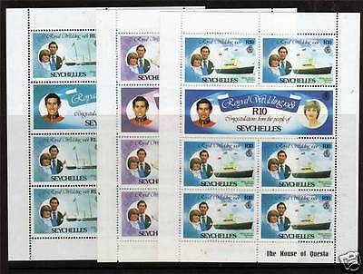 Seychelles 1981 Royal Wedding Set Of All 3 Sheetlets Mnh