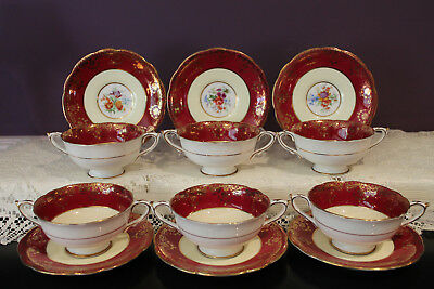 6 Sets Of Paragon Cream Soup And Saucers - Burgundy / Pale Yellow / Floral