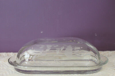 Clear Glass Oblong Butter Dish With Lid - Flower Bud Etching