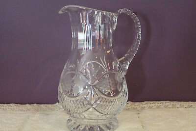 "Beautiful Vintage Heavy Cut Crystal 9-3/4"" Water / Juice Pitcher - Grapes"