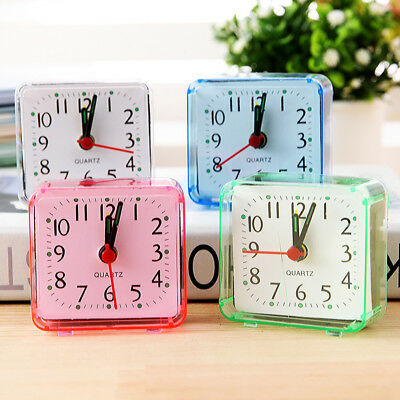 Portable Square Small Bed Compact Travel Quartz Beep Mini Alarm Clock Bedroom