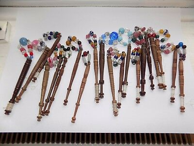 20 x ANTIQUE TURNED WOOD LACE BOBBINS WITH HAND BLOWN GLASS SPANGLE BEADS (1)