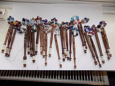 25 x ANTIQUE TURNED WOOD LACE BOBBINS WITH GLASS SPANGLE BEADS MILLEFIORI ETC (2